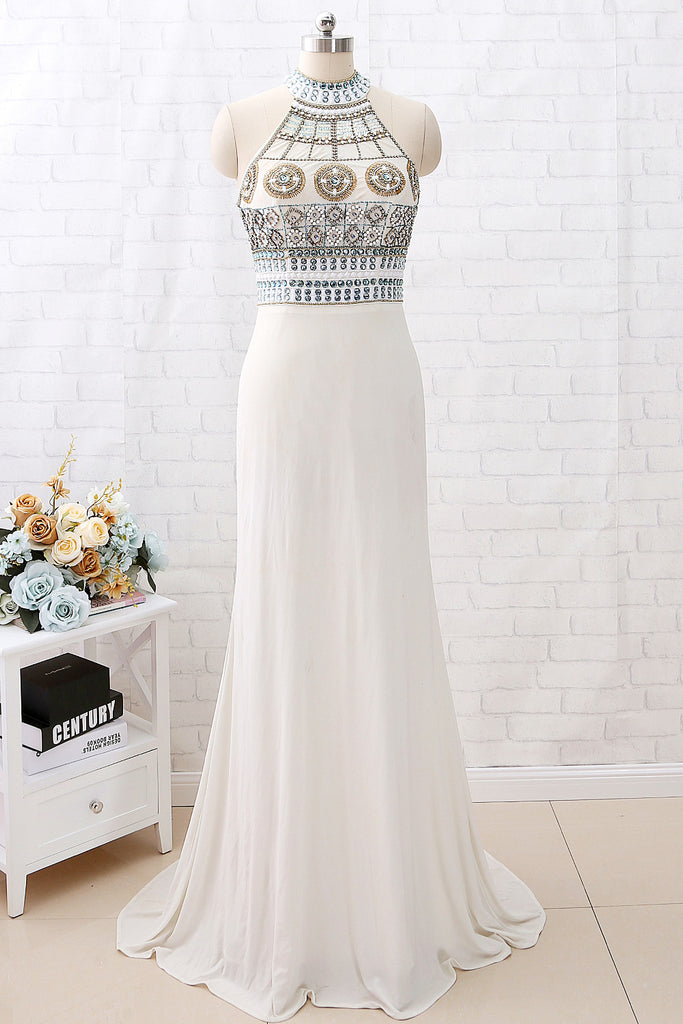 MACloth Sheath High Neck Beaded Long Prom Dress Ivory Formal Evening Gown