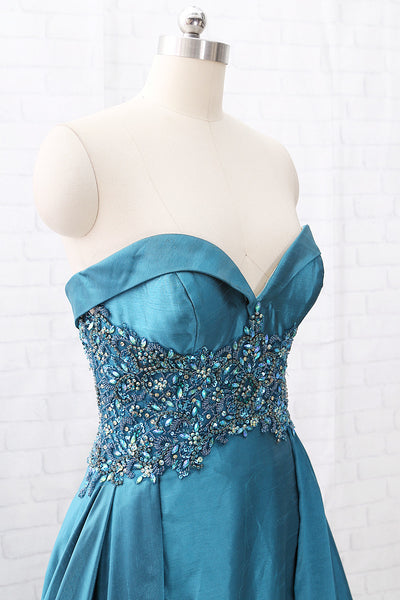 MACloth Strapless Sweetheart Long Beaded Teal Prom Dress Pageant Gown
