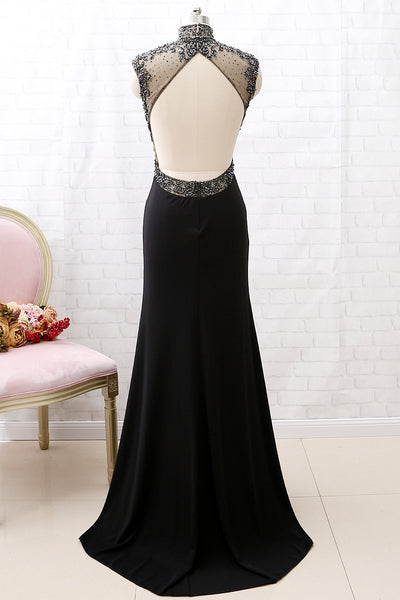 MACloth Mermaid High Neck Beaded Jersey Black Formal Evening Gown with Slit