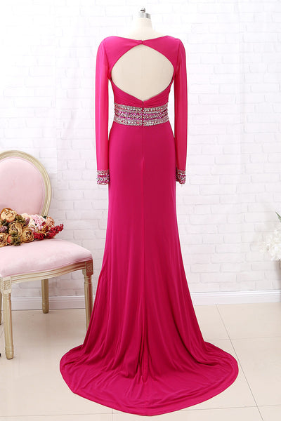 MACloth Long Sleeves Beaded Sheath Fuchsia Long Prom Dress Formal Evening Gown