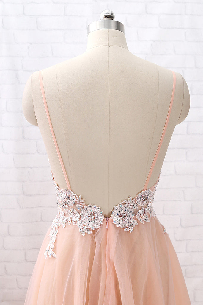 b8934086d2c2 ... MACloth Straps V Neck Lace Tulle Blush Pink Prom Dress Formal Evening  Gown ...
