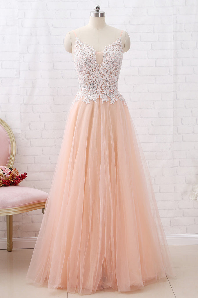 6a08fd3969a4 MACloth Straps V Neck Lace Tulle Blush Pink Prom Dress Formal Evening Gown