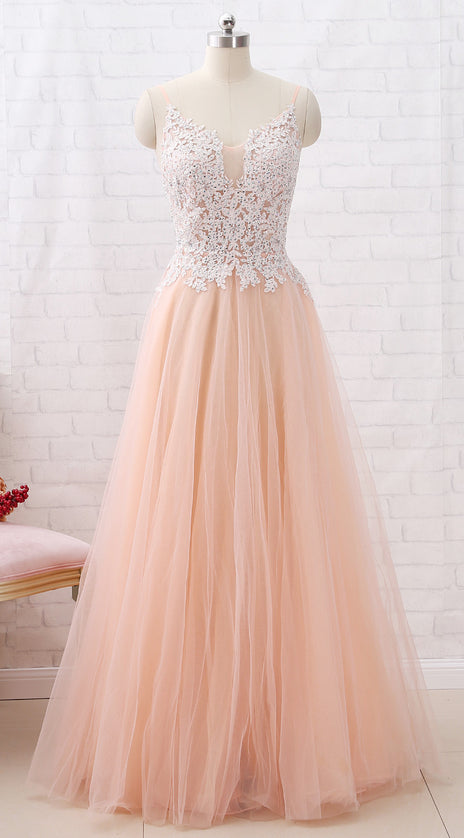 MACloth Straps V Neck Lace Tulle Blush Pink Prom Dress Formal Evening Gown