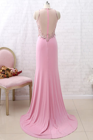 MACloth Sheath Beaded Jersey Pink Long Prom Dress Formal Evening Gown