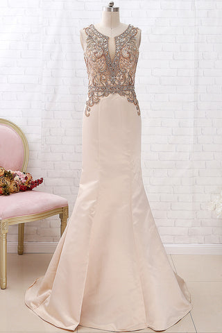 MACloth Mermaid V Neck Beaded Champagne Pageant Prom Dress Formal Evening Gown