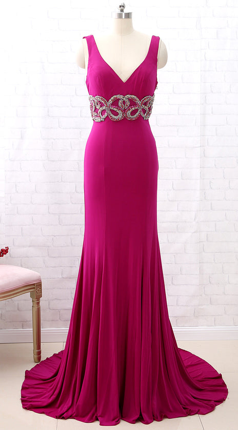 MACloth Sheath Straps V Neck Jersey Fuchsia Prom Dress Formal Evening Gown