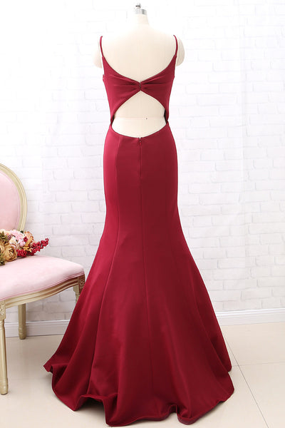 MACloth Straps V Neck Mermaid Burgundy Long Prom Dress Cut Out Formal Evening Gown