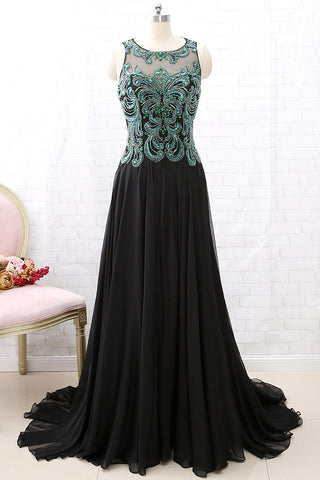 MACloth Straps Green Beaded Black Chiffon Long Prom Dress Formal Evening Gown