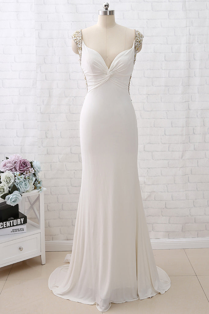 MACloth Mermaid Crystals Beaded Jersey Ivory Prom Dress Formal Evening Gown