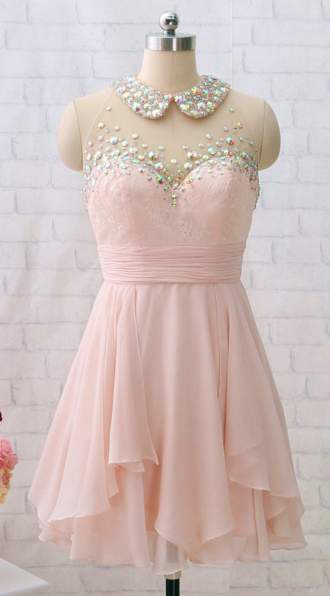 MACloth Beaded Lace Chiffon Mini Prom Homecoming Dress Light Pink Party Dress