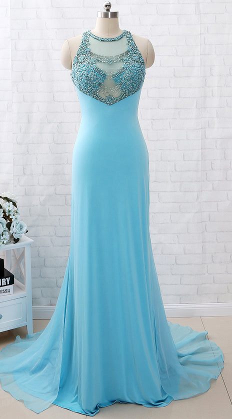 MACloth Sheath Straps Beaded Jersey Long Prom Dress Blue Formal Evening Gown