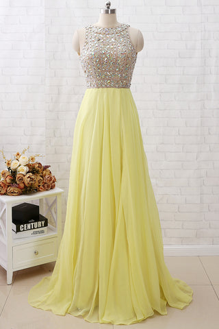 MACloth Straps Crystals Beaded Long Chiffon Prom Dress Yellow Formal Evening Gown