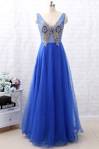 MACloth Straps V Neck Gold Lace Tulle Long Prom Dress Formal Evening Gown