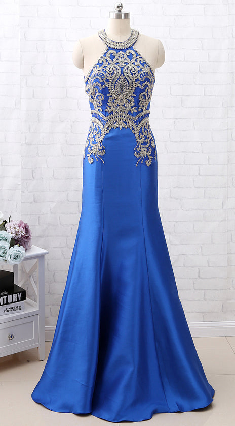 MACloth Mermaid Halter Gold Lace Blue Satin Long Prom Dress Formal Evening Gown