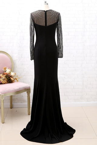 MACloth Long Sleeves Crystals Sheath Black Formal Evening Gown Maxi Pageant Prom Dress