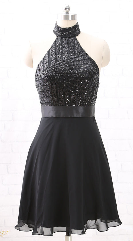 MACloth Halter Sequin Chiffon Short Wedding Party Dress Little Black Dress