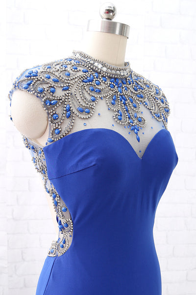 MACloth Mermaid High Neck Beaded Jersey Royal Blue Formal Evening Gown with Slit