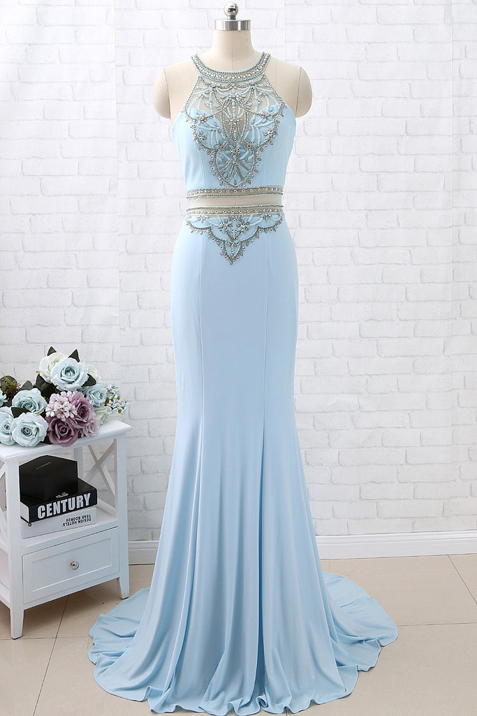 MACloth Sheath O Neck Jersey Sky Blue Long Prom Dress Formal Evening Gown