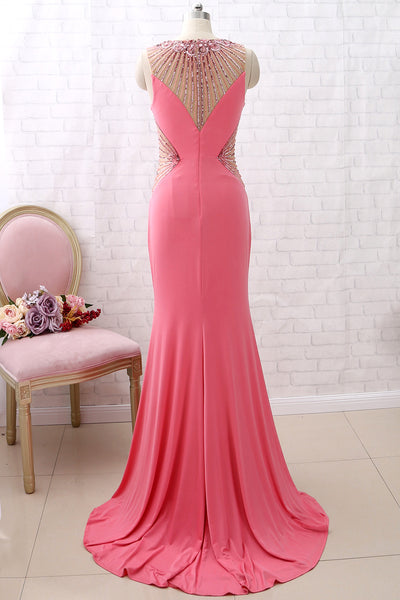 MACloth Sheath O Neck Jersey Long Prom Dress Rose Formal Evening Gown with Slit
