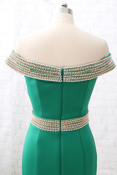MACloth Mermaid Off the shoulder Green Prom Dress Sexy Formal Evening Gown