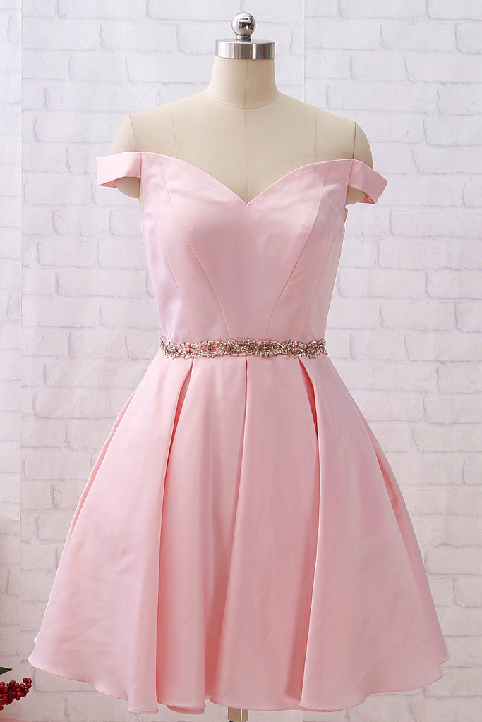 MACloth Off the Shoulder Short Satin Prom Homecoming Dress Pink Party Dress