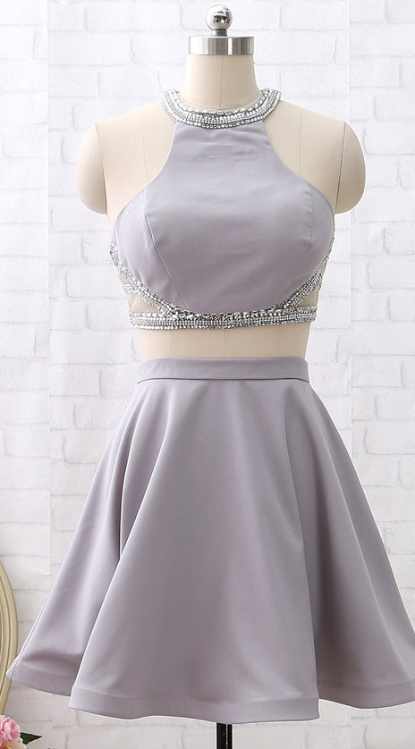 MACloth Two Piece Short Silver Mini Prom Homecoming Dress Wedding Party Dress