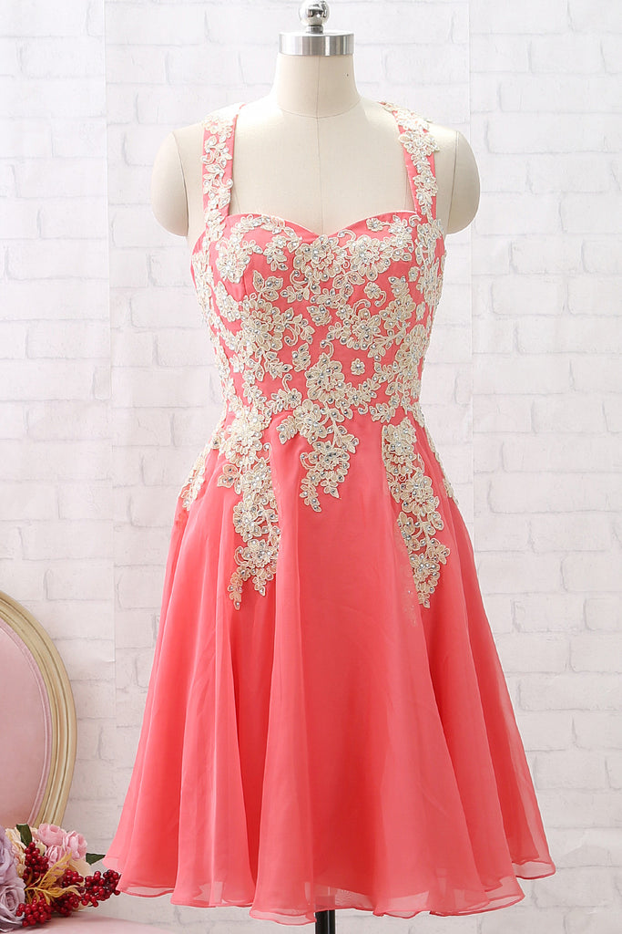 MACloth Straps Lace Chiffon Coral Short Prom Homecoming Dress Wedding Party Dress