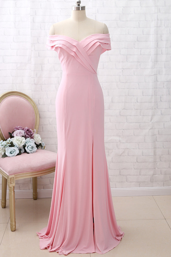 MACloth Off the Shoulder Jersey Pink Prom Dress Mermaid Formal Evening Gown with Slit