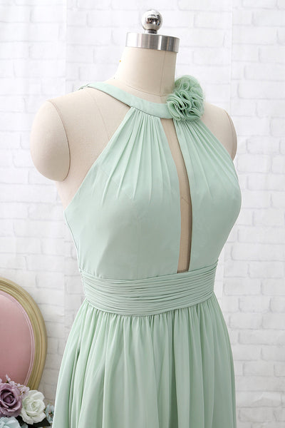 MACloth Halter O Neck Chiffon Mint Long Bridesmaid Dress Wedding Party Dress