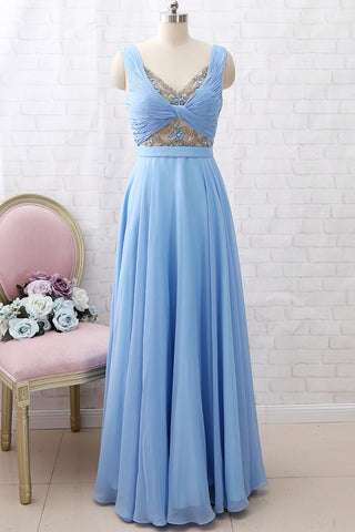 MACloth Straps V Neck Beaded Long Prom Dress Chiffon Formal Evening Gown