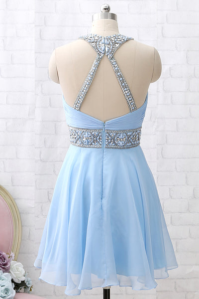 MACloth Halter O Neck Beaded Short Prom Homecoming Dress Sky Blue Formal Party Dress