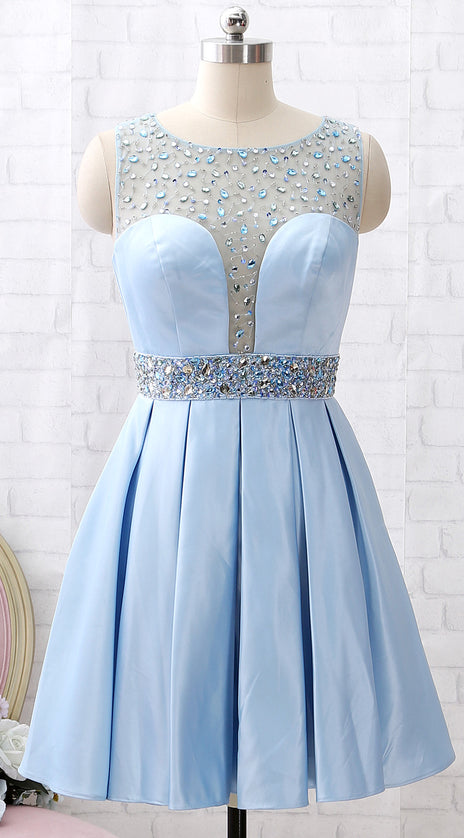 MACloth  Straps Scoop Neck Beaded Short Prom Homecoming Dress Sky Blue Wedding Party Dress