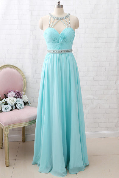 MACloth Straps O Neck Crystals Chiffon Long Prom Dress Aqua Formal Party Dress