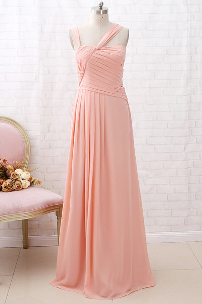 MACloth Straps Chiffon Long Bridesmaid Dress Coral Formal Wedding Party Dress