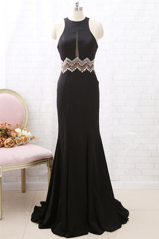 MACloth Mermaid Halter O Neck Black Long Prom Dress Formal Evening Gown