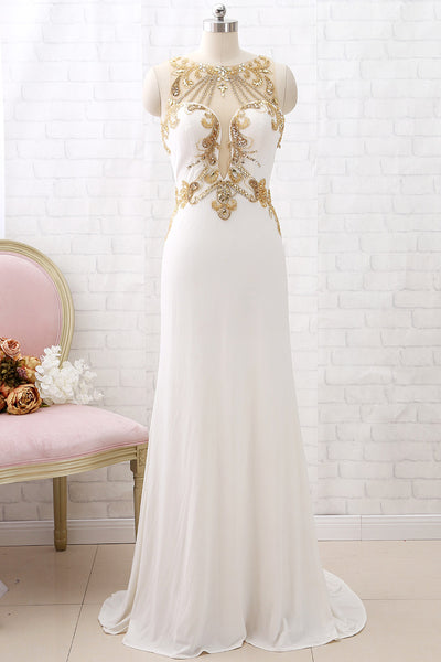 MACloth Mermaid Straps O Neck Beaded Long Prom Dress Jersey Ivory Formal Evening Gown