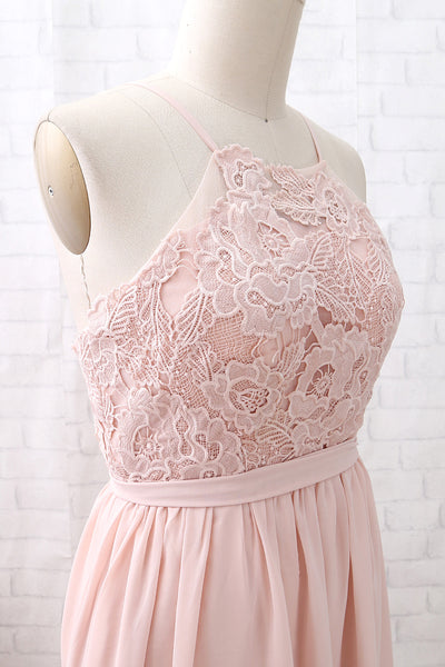 MACloth Halter Lace Chiffon Long Dusty Pink Bridesmaid Dress Simple Formal Evening Gown