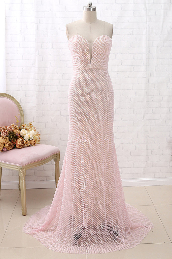 MACloth Mermaid Strapless V Neck Long Pink Prom Dress Beaded Formal Evening Gown