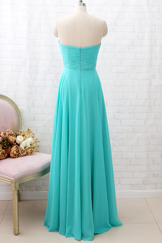 MACloth Strapless Sweetheart Long Turquoise Bridesmaid Dress Wedding Party Dress