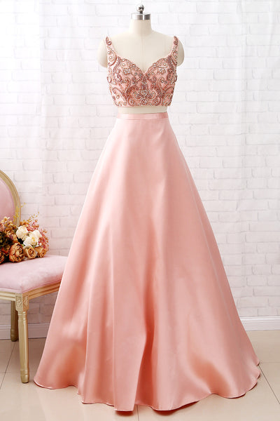 MACloth Two Piece V Neck Beaded Satin Peach Prom Dress Formal Evening Gown