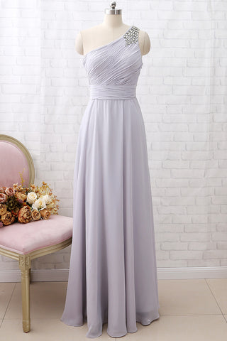 MACloth One Shoulder with Beaded Long Bridesmaid Dress Silver Formal Party Dress