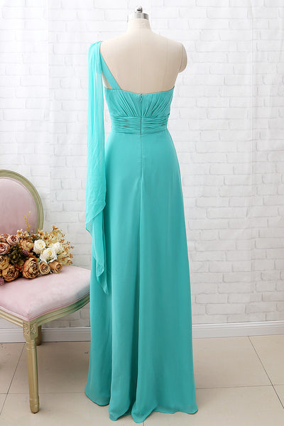MACloth One Shoulder Chiffon Long Bridesmaid Dress Turquoise Formal Party Dress