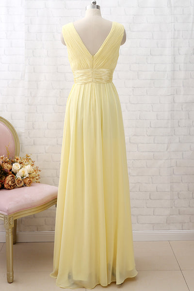 MACloth Straps V neck Chiffon Long Bridesmaid Dress Yellow Formal Party Dress