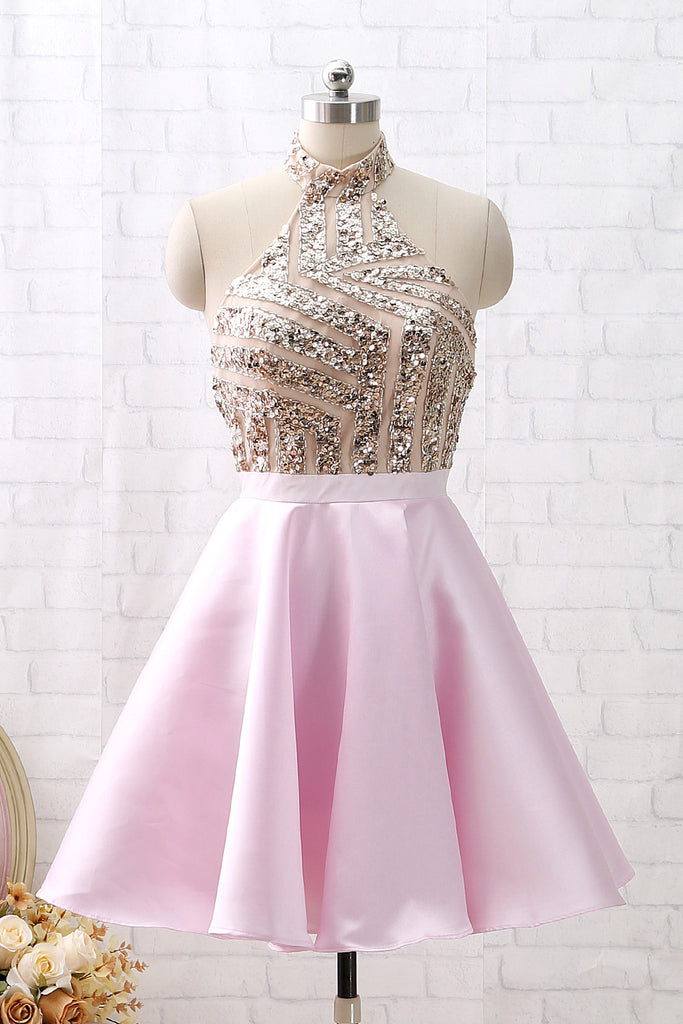 MACloth Halter Sequin Beaded Short Prom Homecoming Dress Pink Cocktail Party Dress