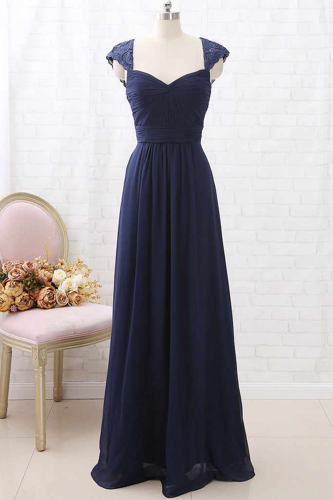 MACloth Cap Sleeves Lace Chiffon Long Bridesmaid Dress Dark Navy Formal Party Dress