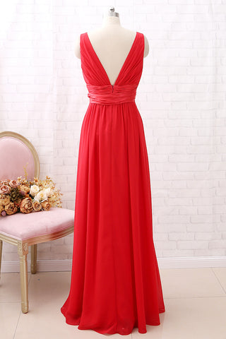 MACloth Straps V Neck Chiffon Long Bridesmaid Dress with Belt Red Formal Evening Gown