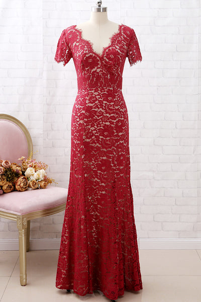 MACloth Sheath Short Sleeves V Neck Lace Burgundy Formal Evening Gown