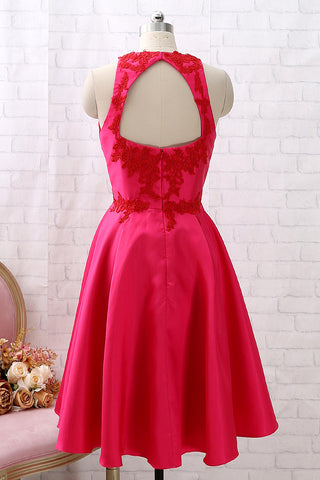 MACloth Straps O Neck Tea Length Hot Pink Cocktail Dress Short Prom Homecoming Dress