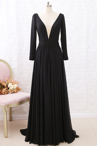 MACloth Long Sleeves Deep V neck Chiffon Formal Evening Gown with Slit