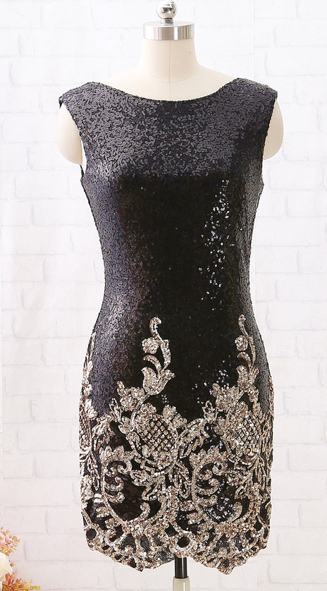 MACloth Boat Neck Sequin Open Back Black Cocktail Dress Short Party Dress Lily